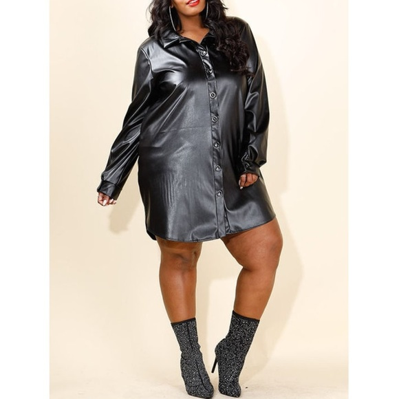 Plus Size Black Faux Leather Shirt Dress Tunic Top